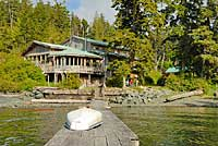View of Hidden Cove Lodge from the dock. Click to enlarge.