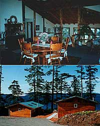 Spacious and comfortable with a licensed dining room (above). Oceanfront 2 Bedroom Cottages over looking Johnstone Straits (below). Click to enlarge.