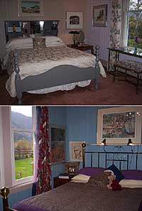 Mt Currie Room (double) with lovely south view and beautifully appointed,with bath adjacent. Queen Room with garden views and private ensuite bath with wrap-around windows at claw-foot tub. Click to enlarge.